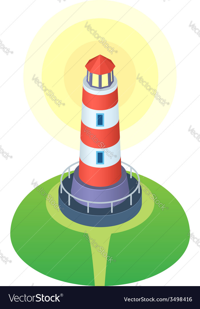 Red and white striped cartoon style lighthouse vector | Price: 1 Credit (USD $1)