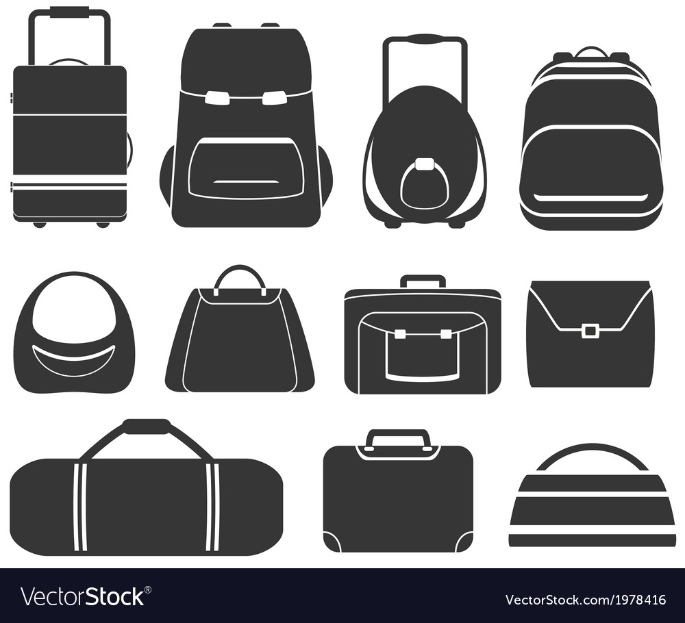 Set gray isolated bag vector | Price: 1 Credit (USD $1)