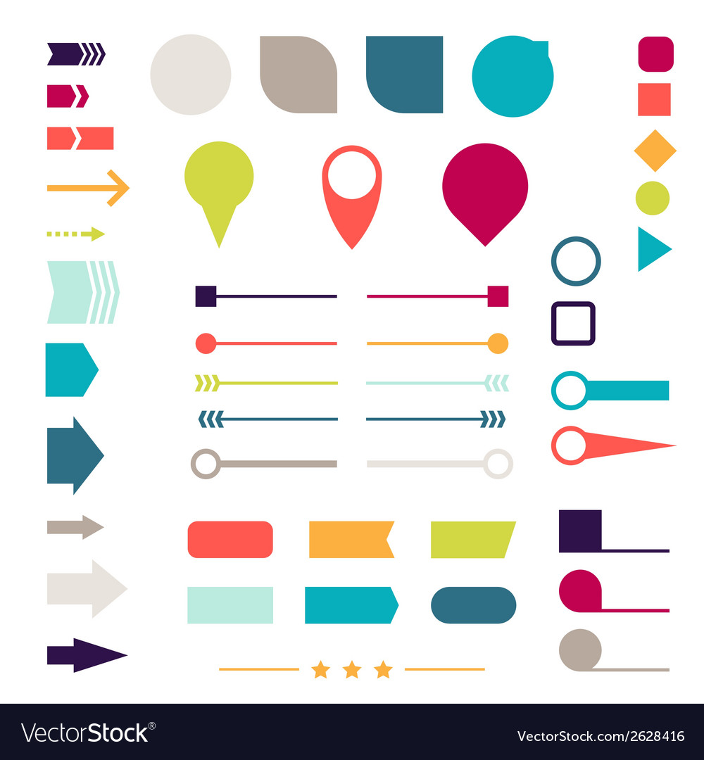 Set of elements markers arrows and dividers for vector | Price: 1 Credit (USD $1)