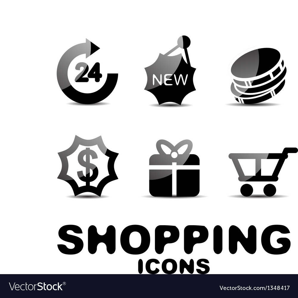 Black glossy shopping icon set vector   Price: 1 Credit (USD $1)