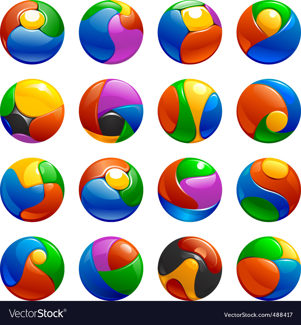 Chrome balls logo elements vector | Price: 1 Credit (USD $1)