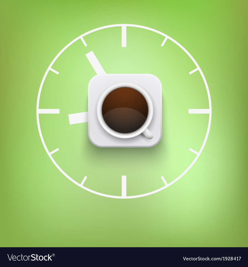 Cup of coffee and time background vector | Price: 1 Credit (USD $1)