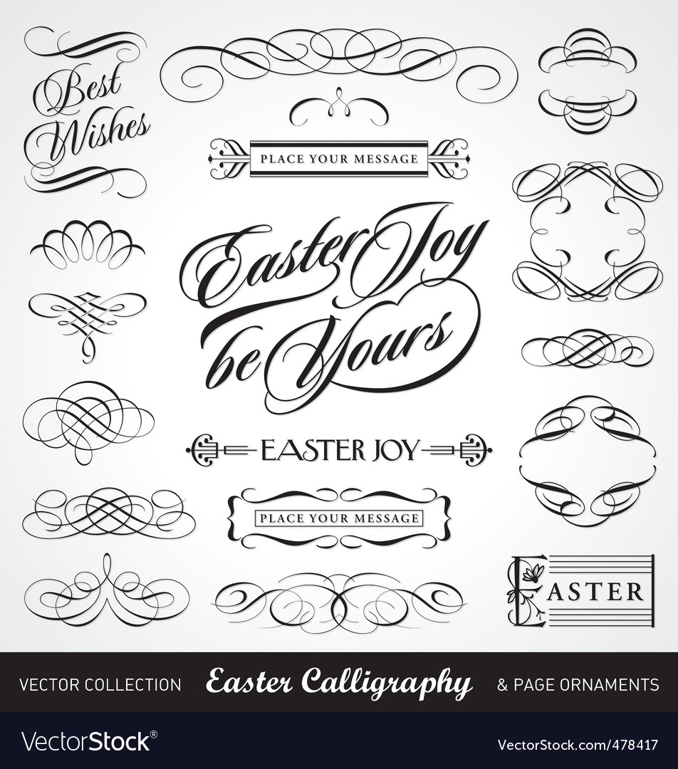 Easter calligraphy set vector | Price: 1 Credit (USD $1)