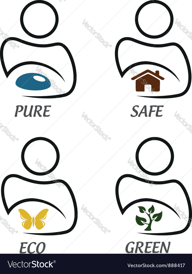 Eco green and environment protection icon set vector | Price:  Credit (USD $)