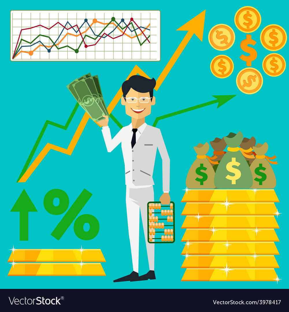 Happy man trader holding dollars in hand vector | Price: 1 Credit (USD $1)