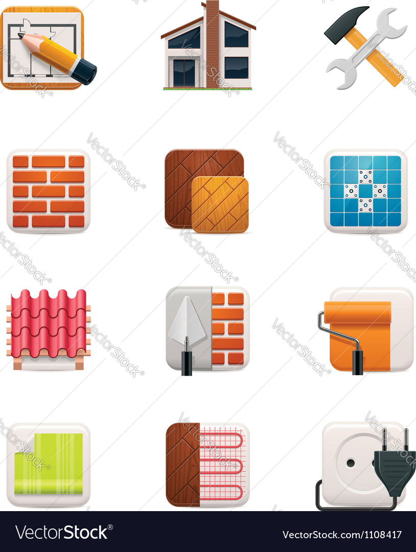 Part one of house renovation icon set vector | Price: 3 Credit (USD $3)