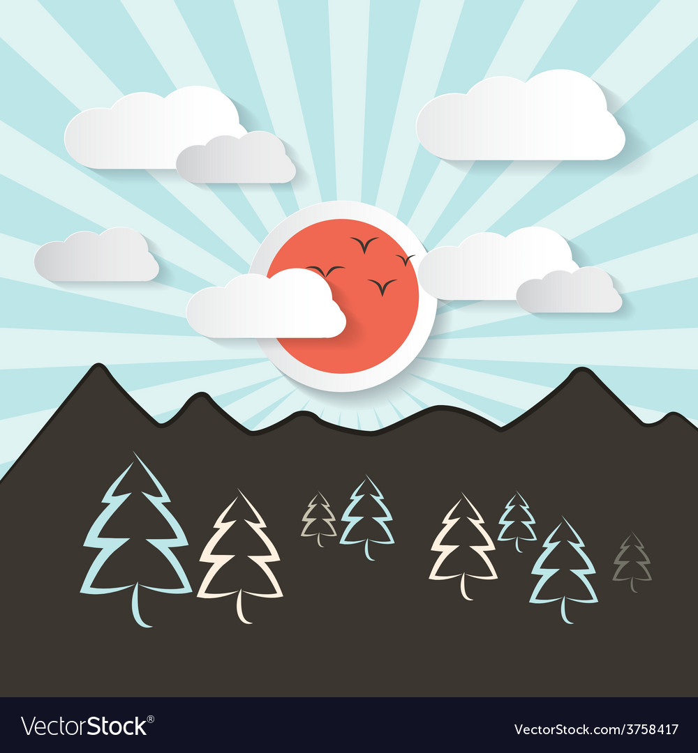 Retro abstract mountain landscape with paper vector | Price: 1 Credit (USD $1)