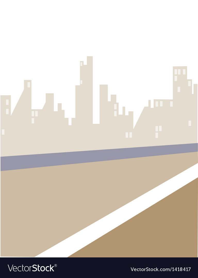 Road and city skyline vector | Price: 1 Credit (USD $1)