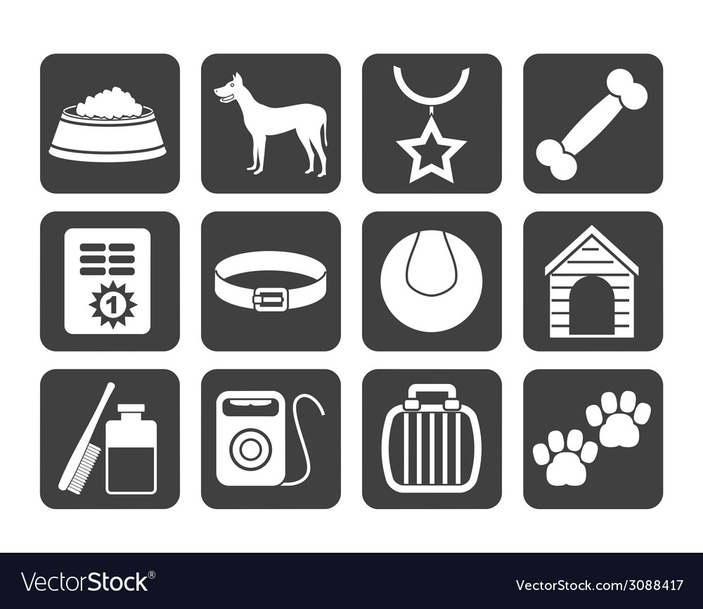 Silhouette dog accessory and symbols icons vector | Price: 1 Credit (USD $1)