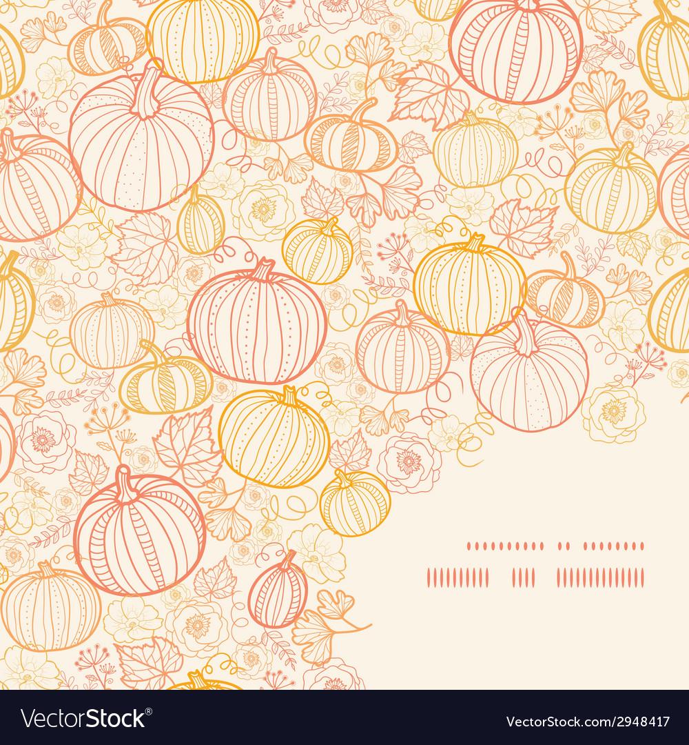 Thanksgiving line art pumkins frame corner pattern vector | Price: 1 Credit (USD $1)