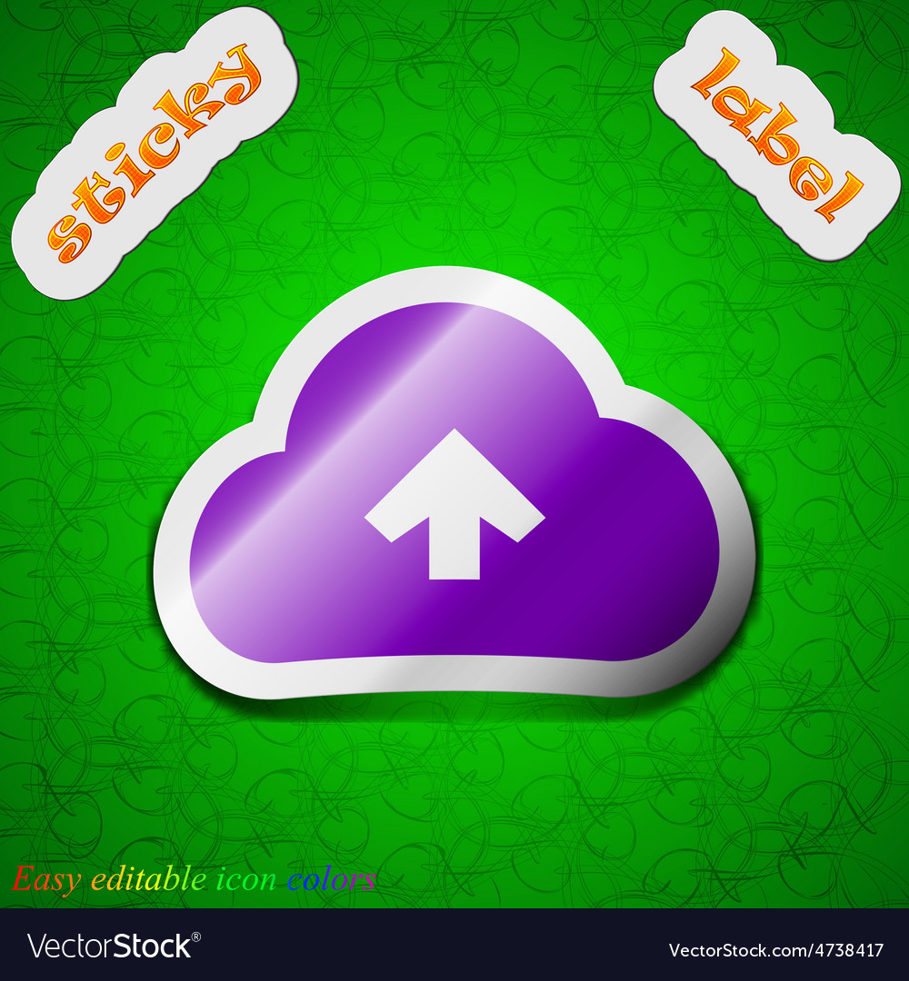 Upload from cloud icon sign symbol chic colored vector | Price: 1 Credit (USD $1)