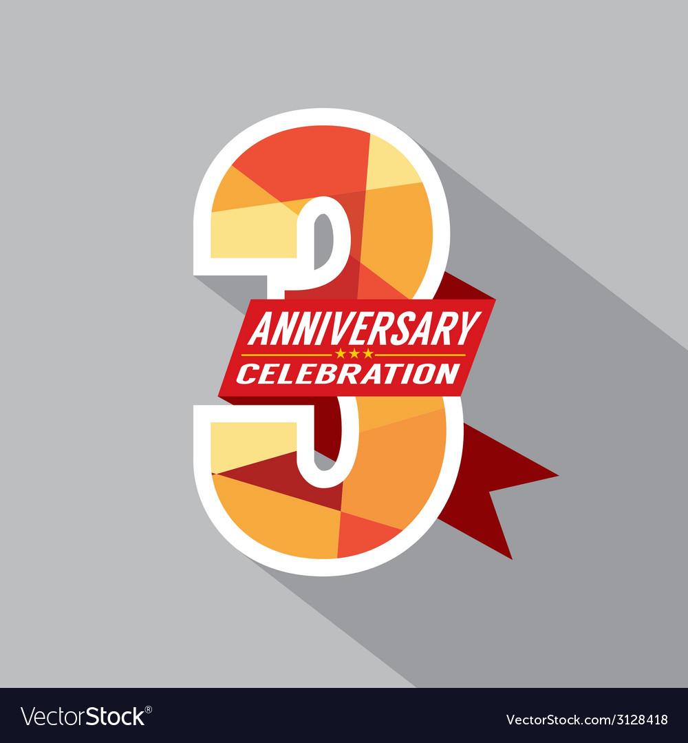 3rd years anniversary celebration design vector | Price: 1 Credit (USD $1)