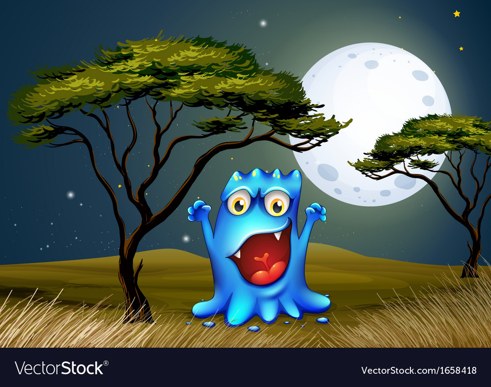 A monster near the tree under the bright fullmoon vector | Price: 3 Credit (USD $3)