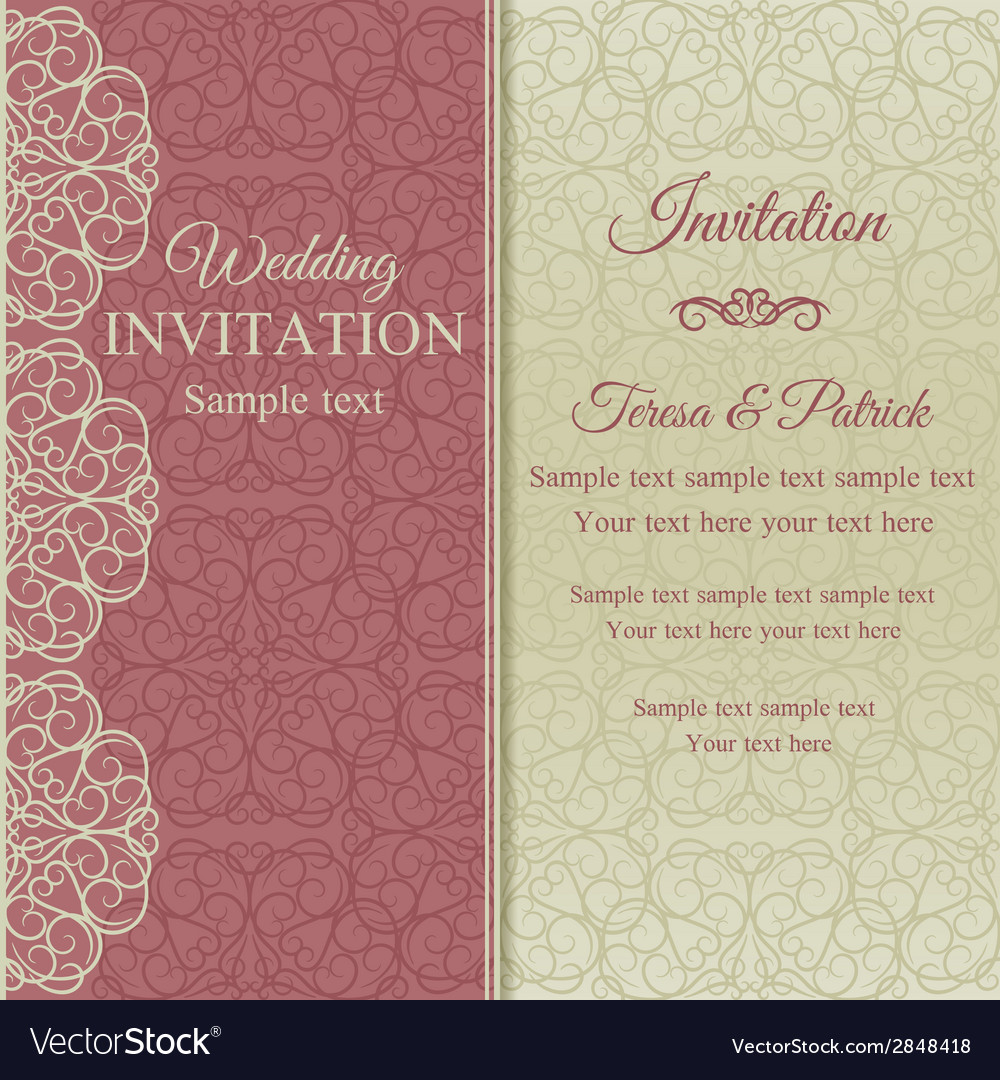Baroque invitation pink and beige vector | Price: 1 Credit (USD $1)