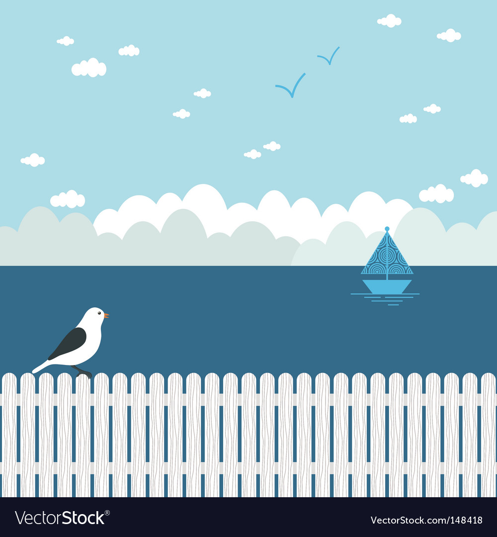 Blue seascape vector | Price: 1 Credit (USD $1)