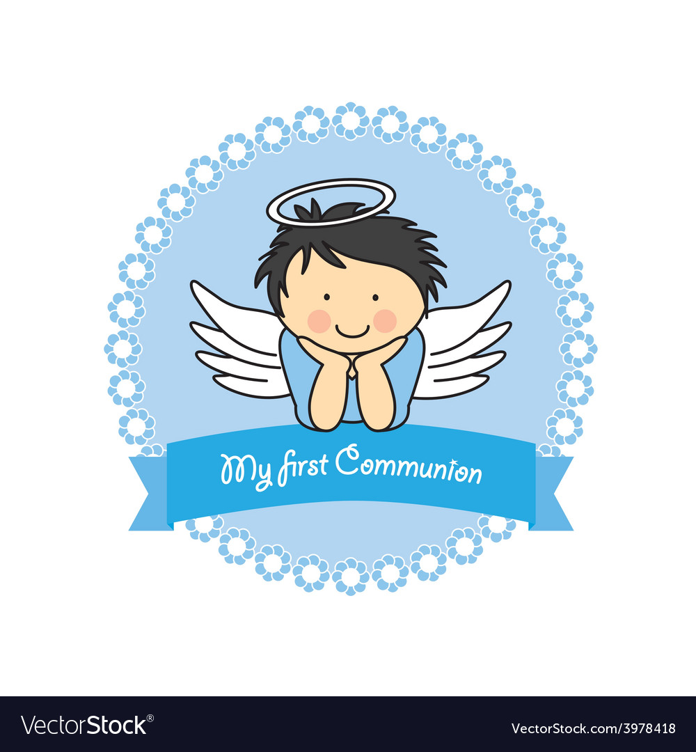 Boy first communion card vector | Price: 1 Credit (USD $1)