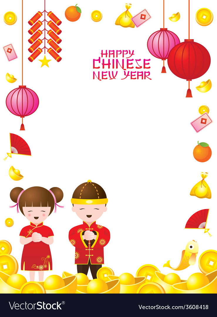 Chinese new year frame with chinese kids vector | Price: 1 Credit (USD $1)