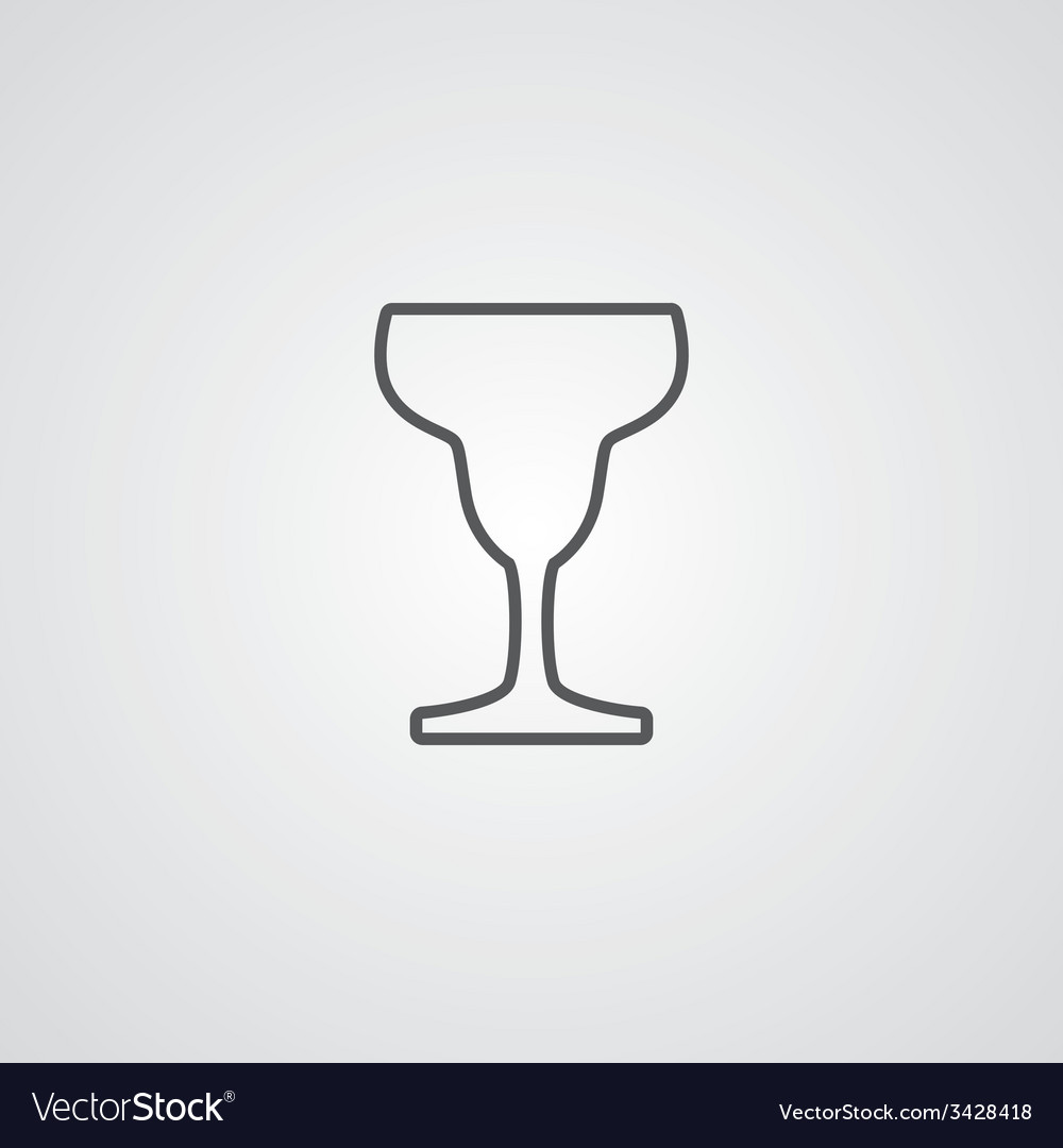 Cocktail outline symbol dark on white background vector | Price: 1 Credit (USD $1)