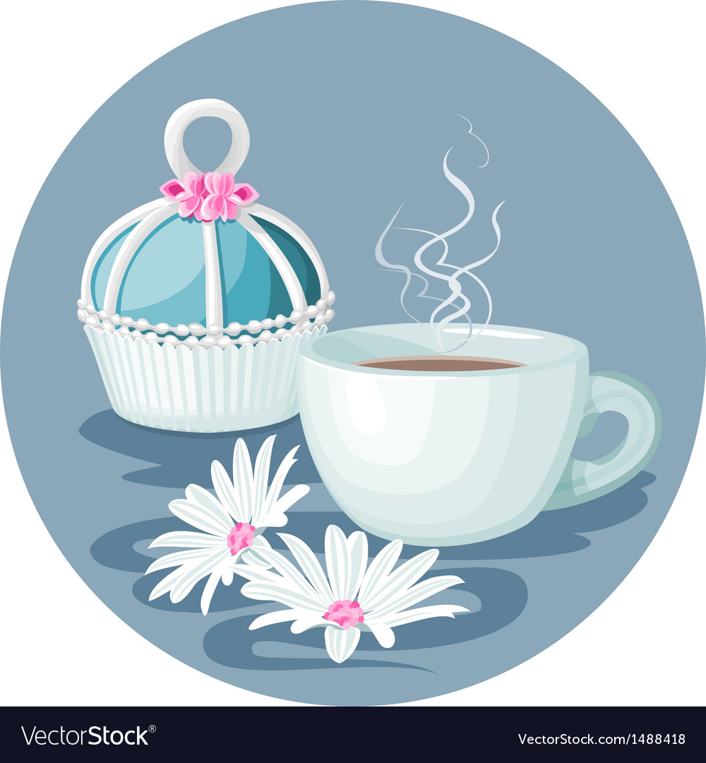 Cupcake cup of coffee and flowers composition vector | Price: 3 Credit (USD $3)