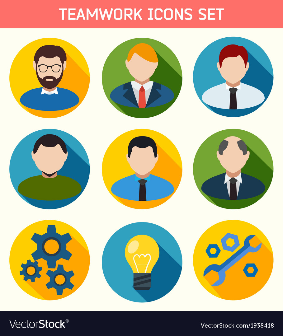 Flat business teamwork icons set vector | Price: 1 Credit (USD $1)