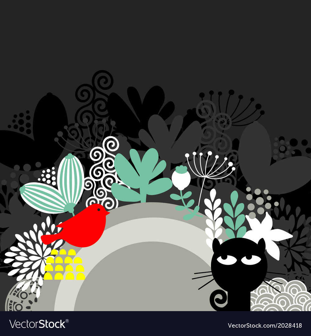 Half round banner with black cat and red bird vector | Price: 1 Credit (USD $1)