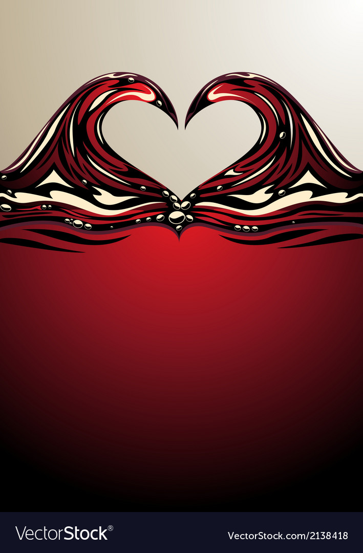 Heart shaped waves on red wine vector | Price: 1 Credit (USD $1)