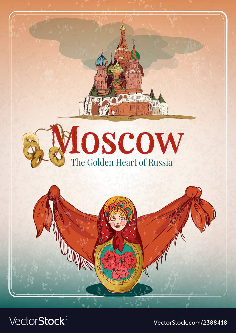 Moscow retro poster vector | Price: 1 Credit (USD $1)
