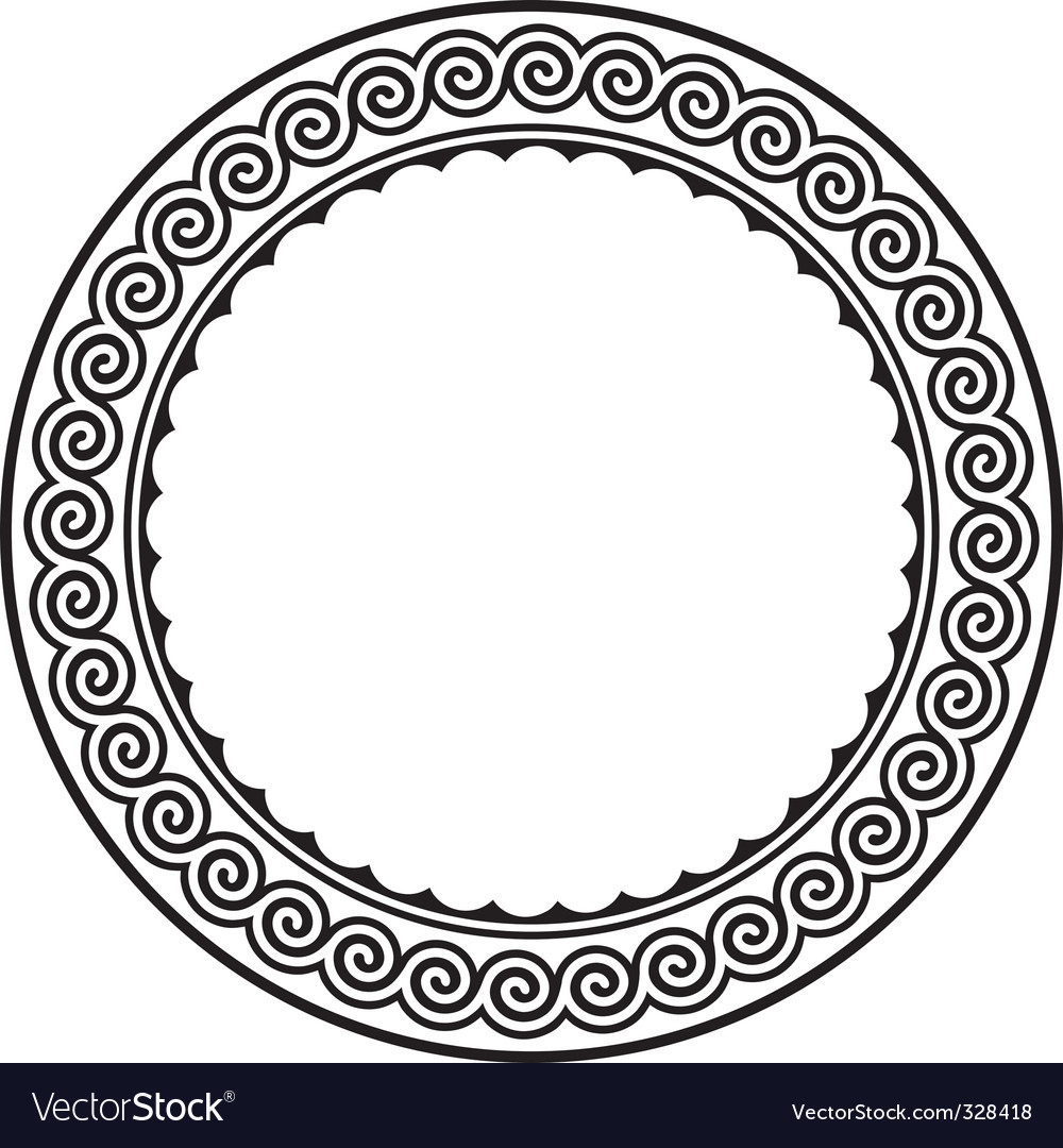 Round frame with a meander vector | Price: 1 Credit (USD $1)