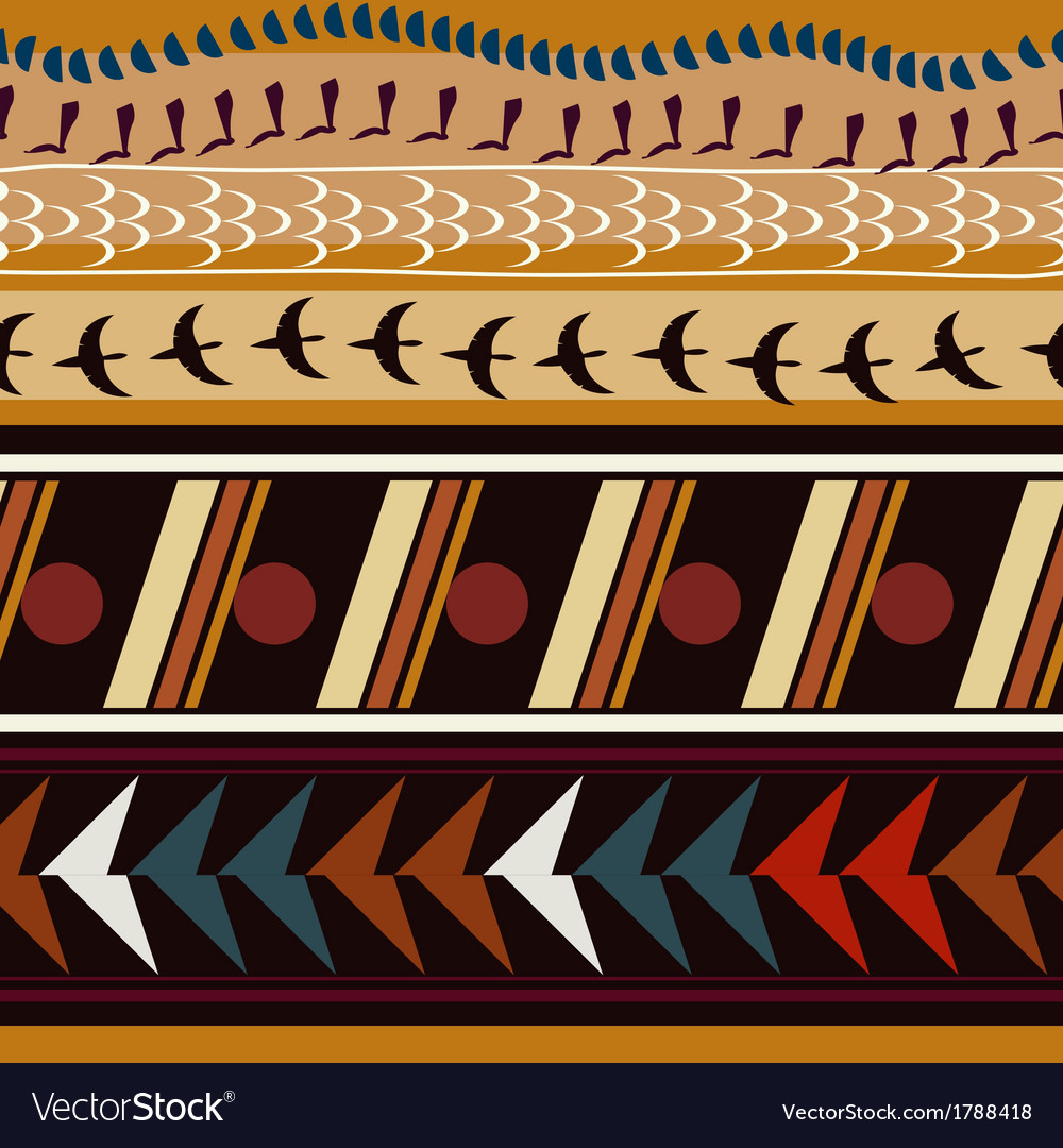 Seamless with ethnic patterns and silhouettes vector | Price: 1 Credit (USD $1)