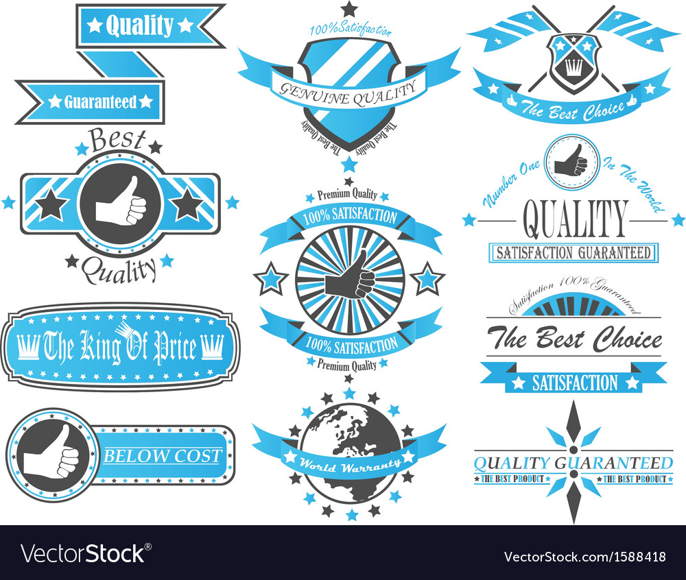Set of vintage label collection bicolour 2 vector | Price: 1 Credit (USD $1)