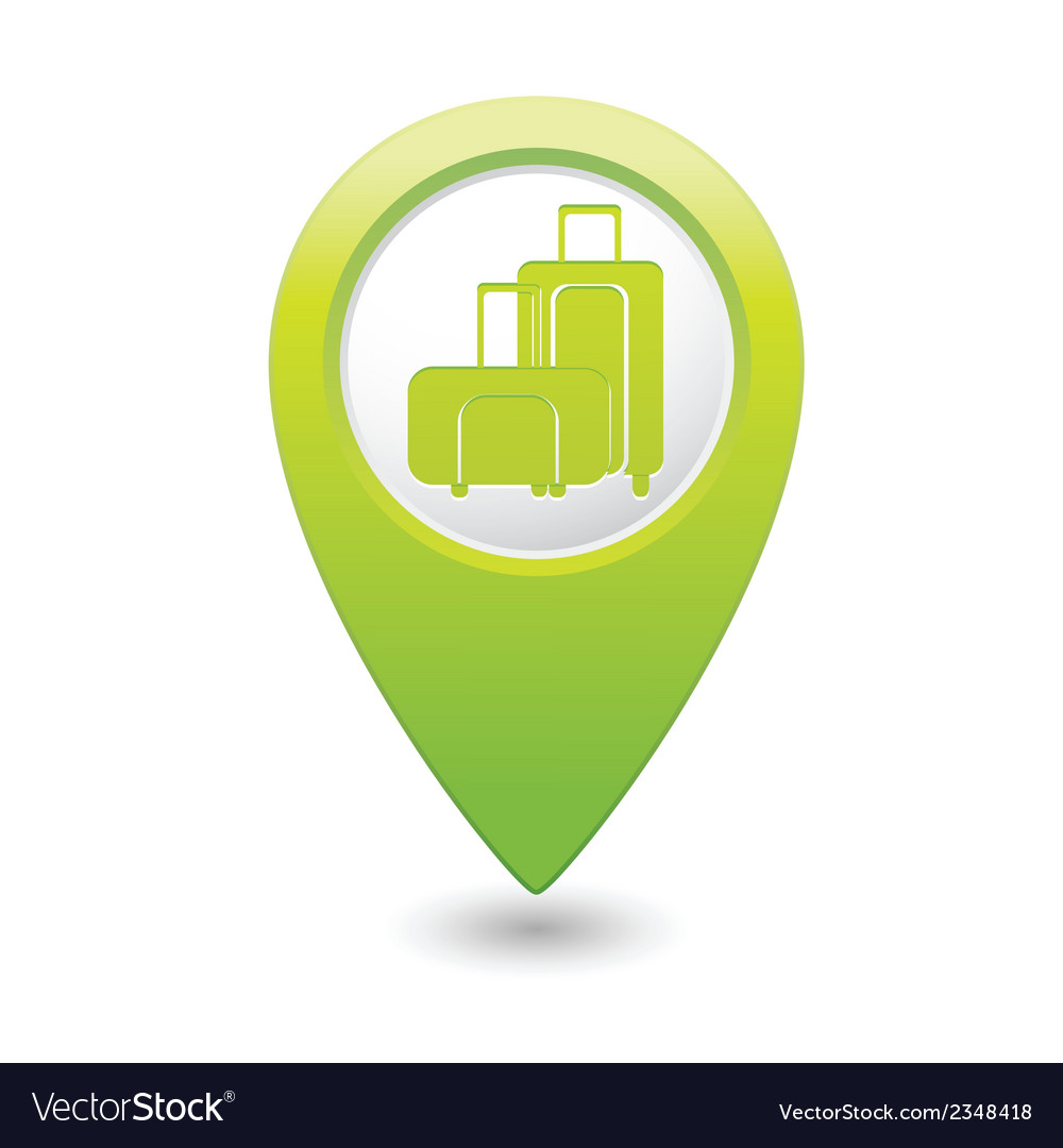 Suitcases icon green map pointer vector | Price: 1 Credit (USD $1)