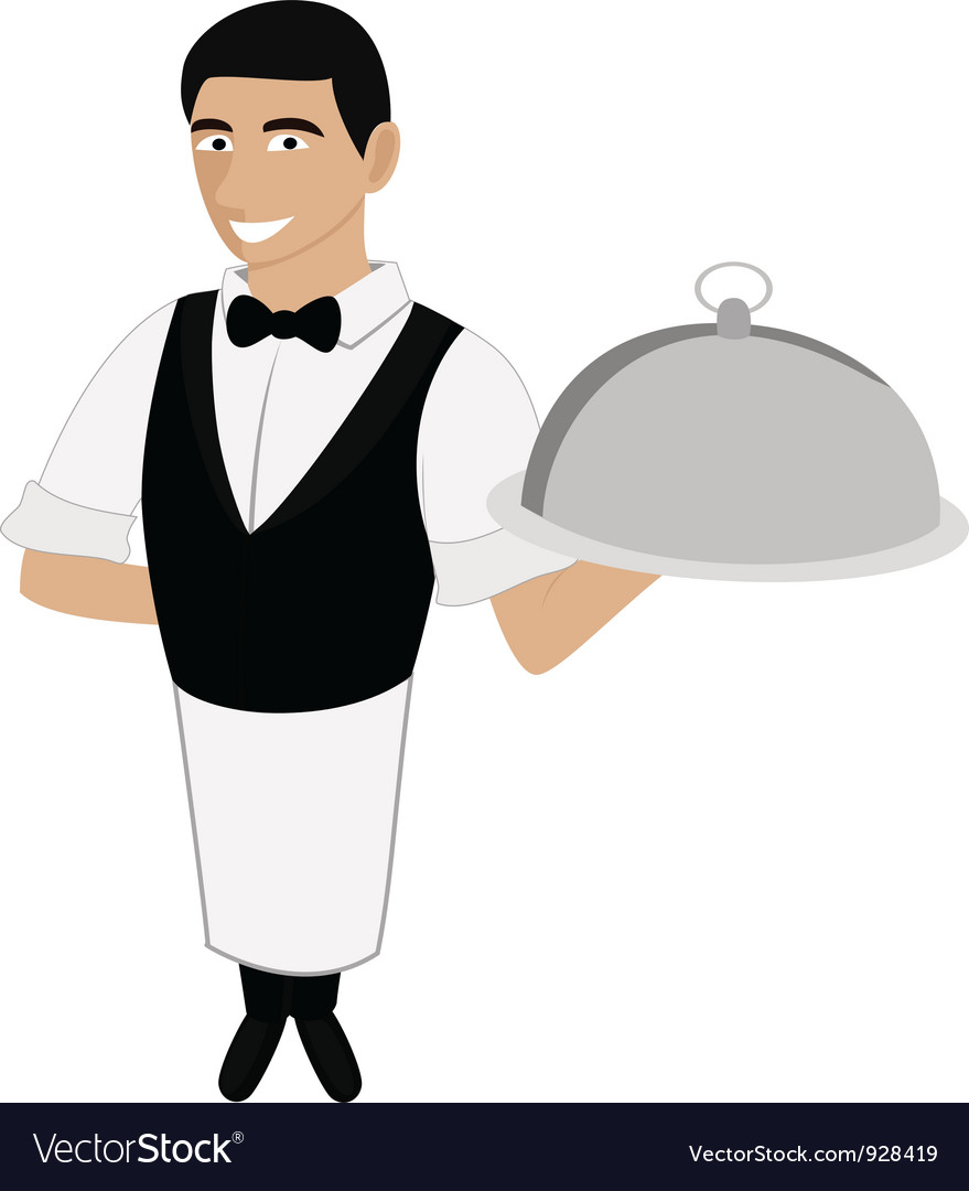 A waiter in a bow tie vector | Price: 1 Credit (USD $1)