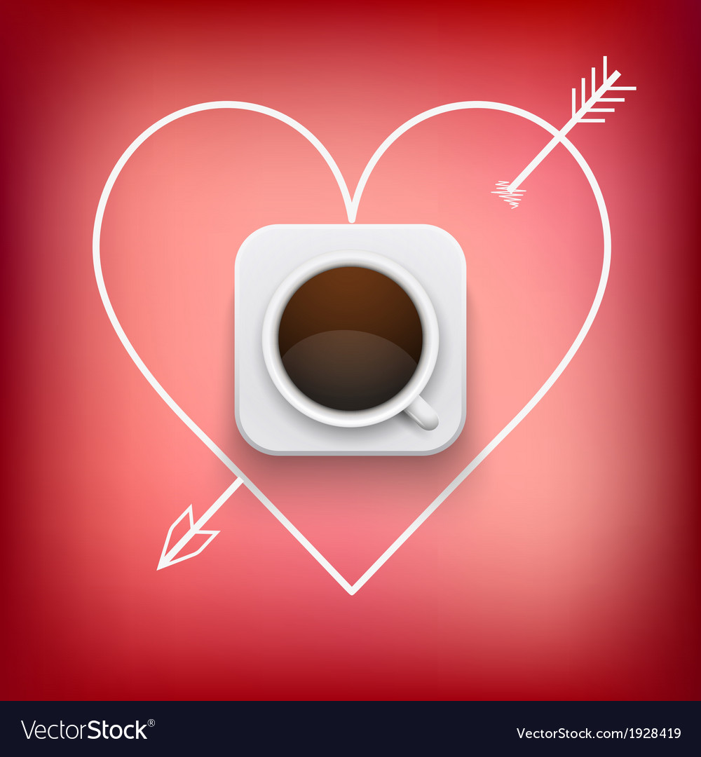 Cup of coffee and heart with arrow background vector | Price: 1 Credit (USD $1)