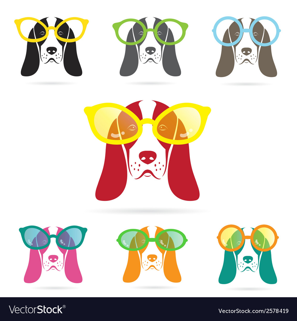 Images of basset hound dog wearing glasses vector | Price: 1 Credit (USD $1)