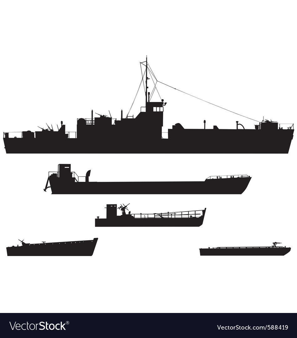 Landing craft silhouettes vector | Price: 1 Credit (USD $1)