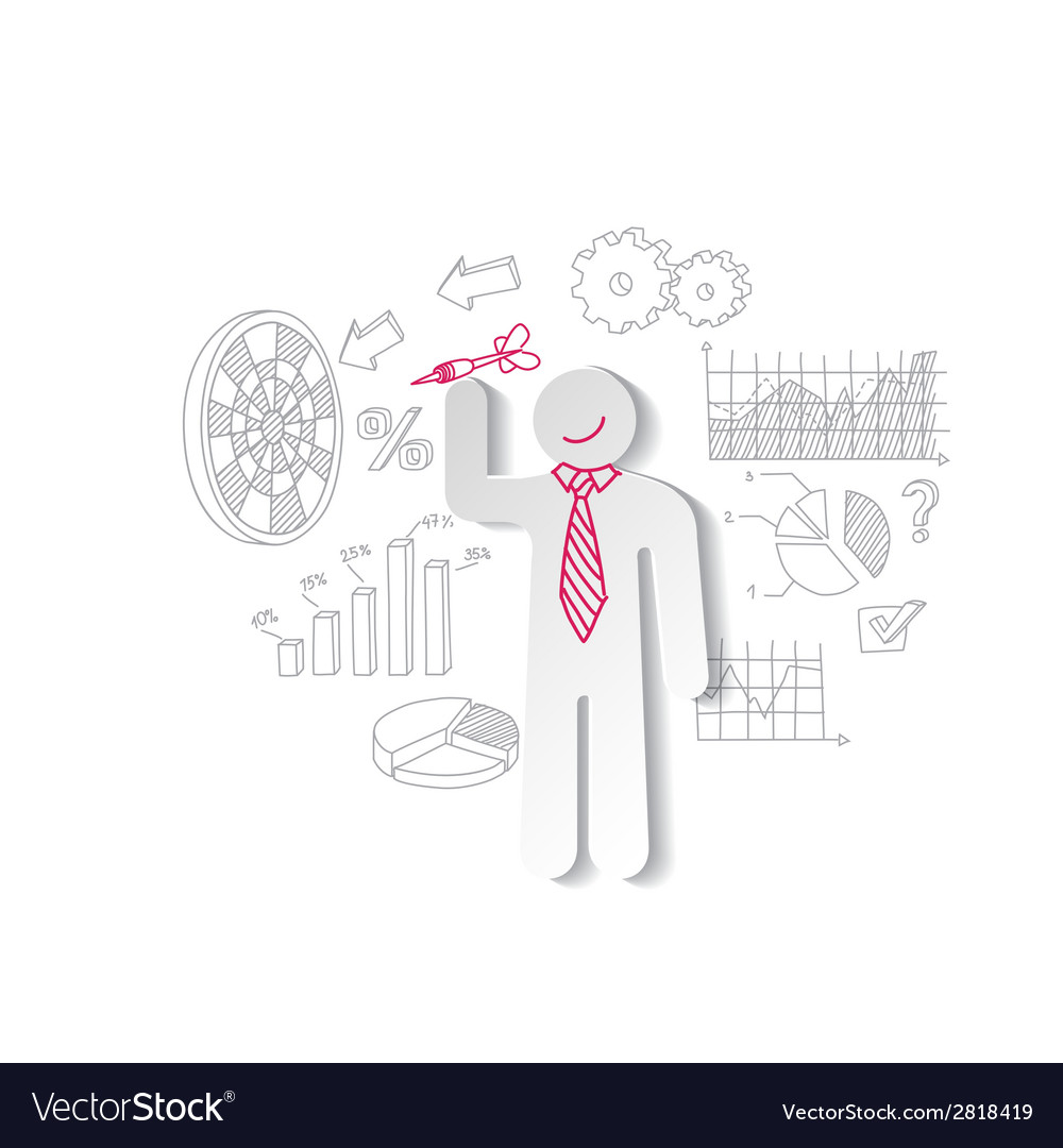 Paper man darts and business graphics marketing vector | Price: 1 Credit (USD $1)