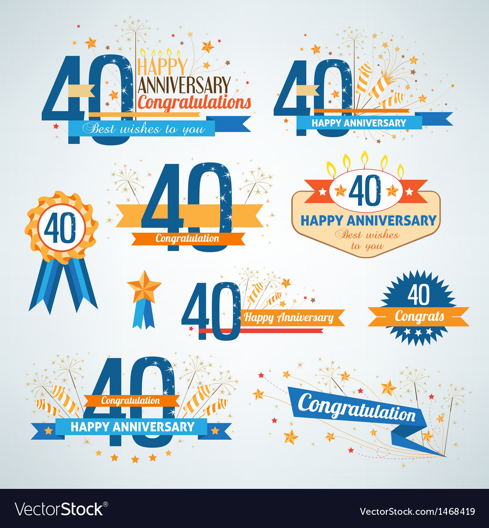 Set of anniversary design elements vector | Price: 1 Credit (USD $1)