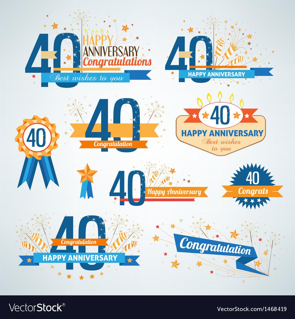 Set of anniversary design elements vector | Price: 1 Credit (USD $1)