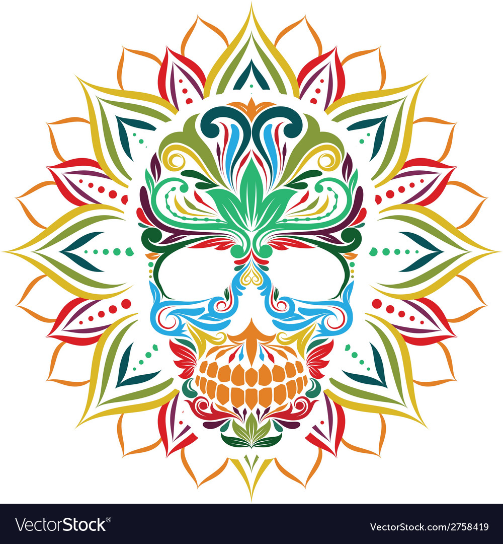 Skull and sun flower vector | Price: 1 Credit (USD $1)