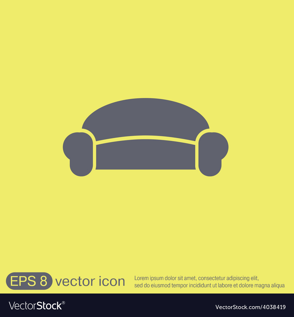 Sofa icon symbol furniture icon home interior vector | Price: 1 Credit (USD $1)