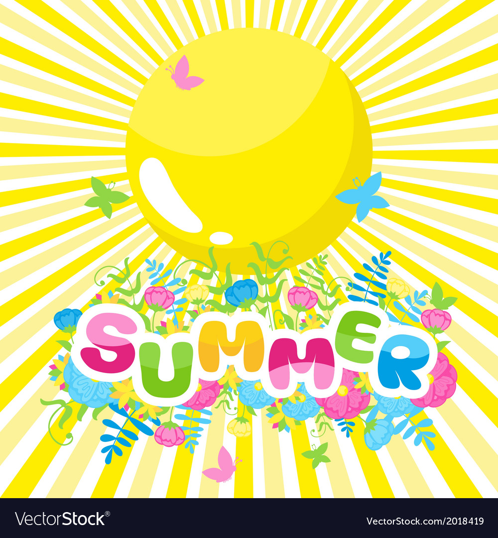 Summer background the inscription of colorful vector | Price: 1 Credit (USD $1)