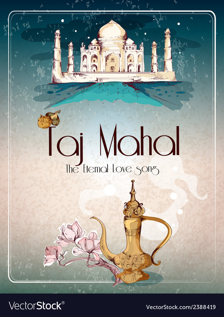 Taj mahal retro poster vector | Price: 1 Credit (USD $1)