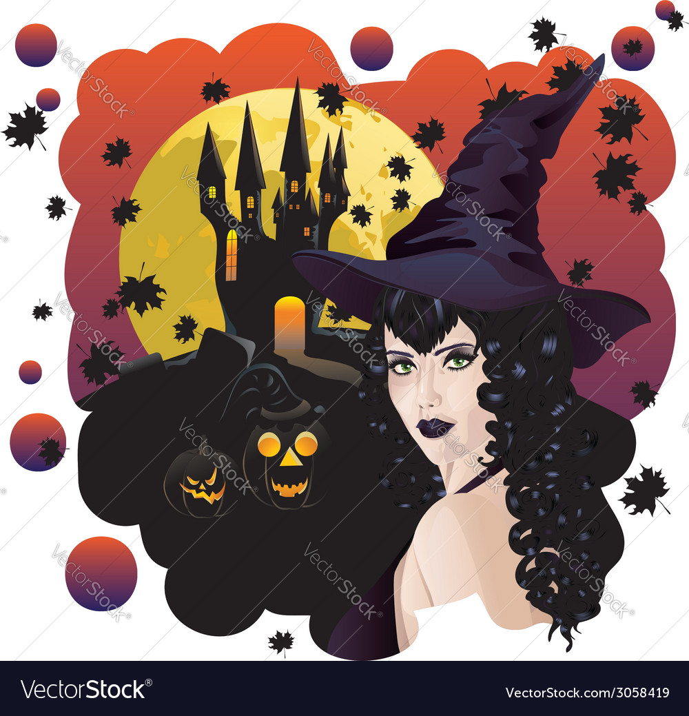 Witch and bats3 vector | Price: 3 Credit (USD $3)