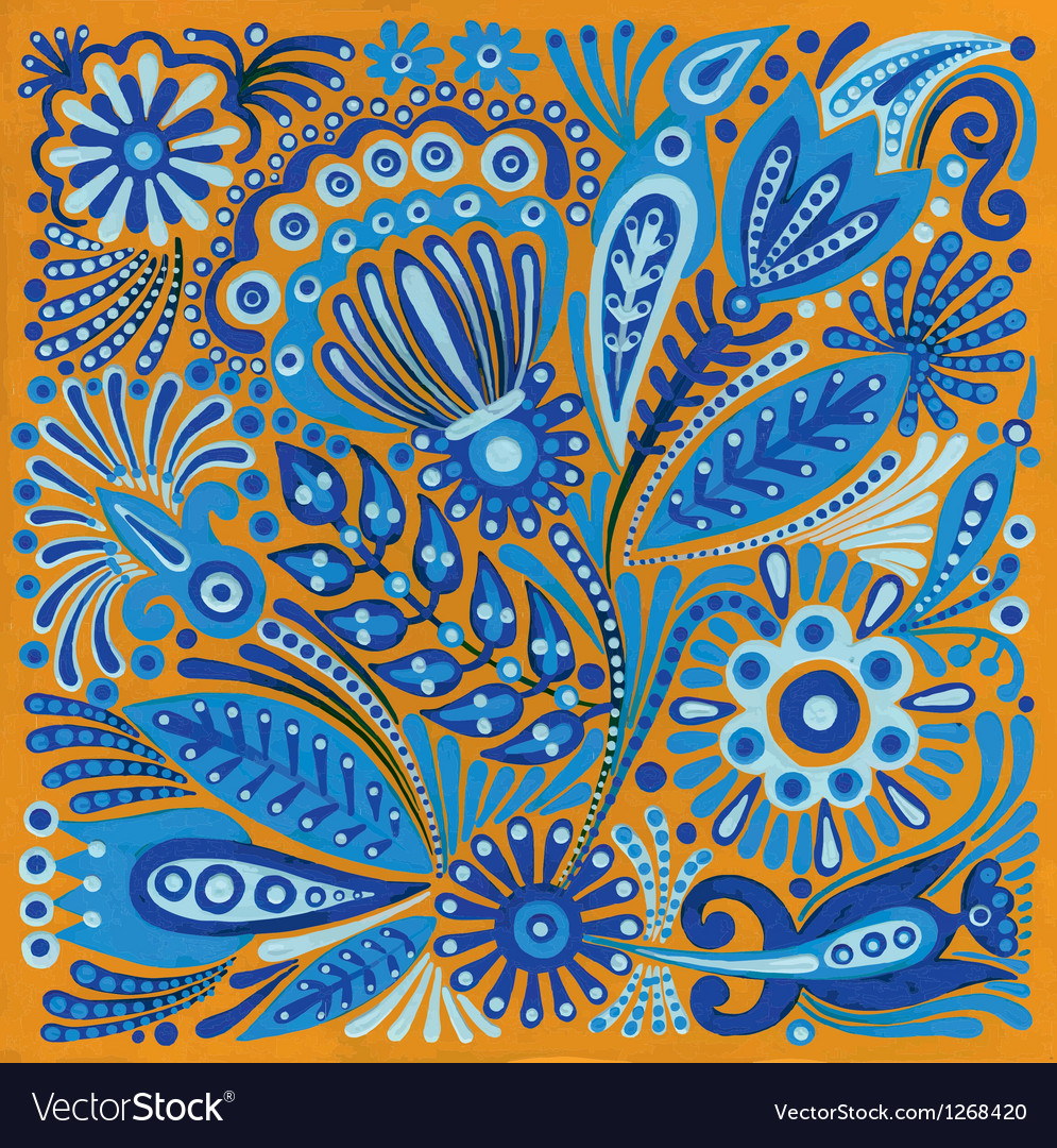 Acrylic painting flower ethnic design vector | Price: 1 Credit (USD $1)