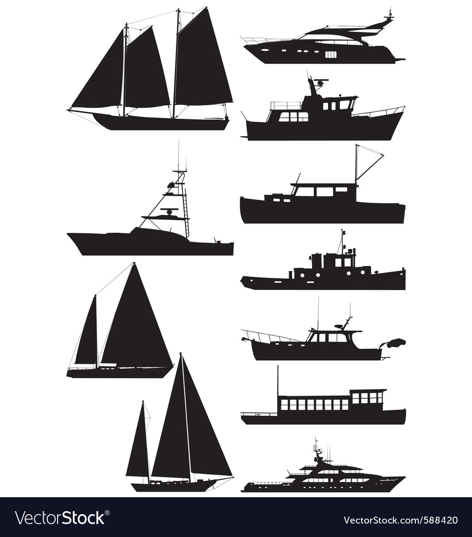 Boat silhouettes vector | Price: 1 Credit (USD $1)