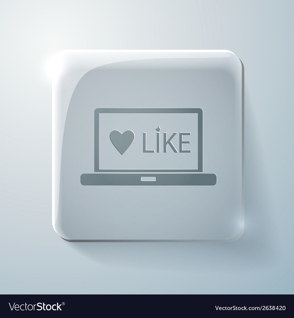 Glass square icons laptop with symbol heart vector | Price: 1 Credit (USD $1)