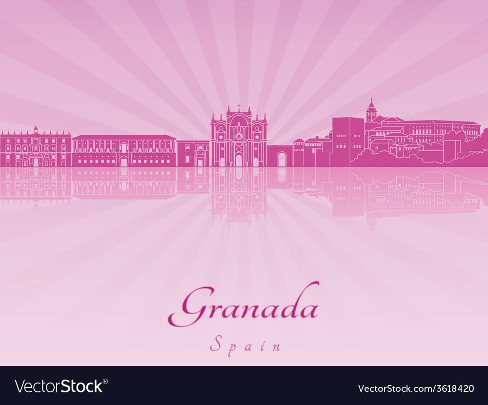 Granada skyline in purple radiant orchid vector | Price: 1 Credit (USD $1)