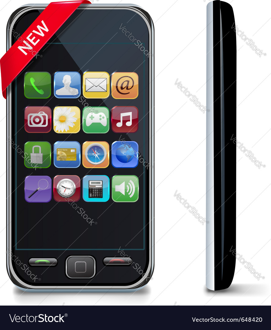Mobile or smart phone with icons vector | Price: 1 Credit (USD $1)