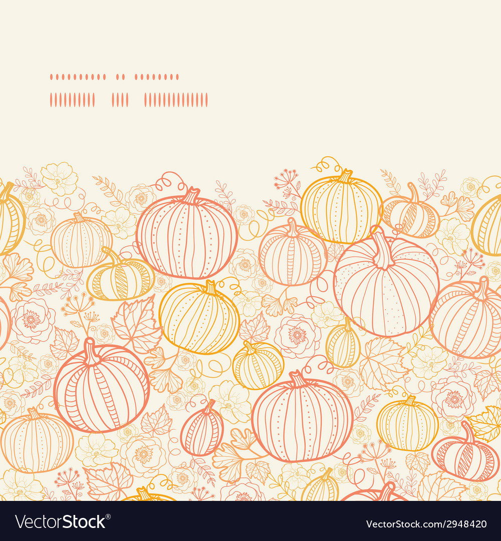 Thanksgiving line art pumkins horizontal frame vector | Price: 1 Credit (USD $1)