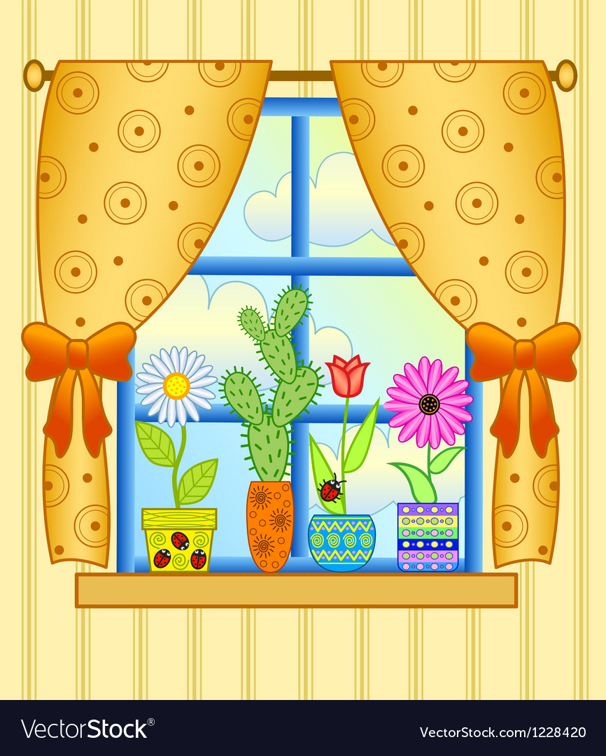 Window with flower pots vector | Price: 1 Credit (USD $1)